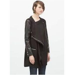 Zara Size S Biker Draped Trenchcoat Leather Sleeve